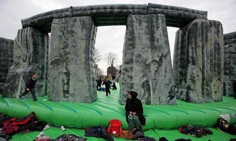 King of the bouncy castle ... Jeremy Deller's Sacrilege at Glasgow Green is part of the Glasgow international festival of visual arts. Photograph: Jeff J Mitchell/Getty Images