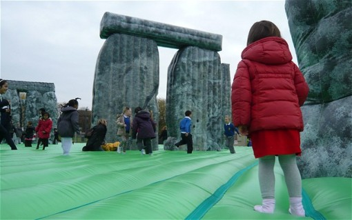 A section of Sacrilege, the life-sized inflatable model of Stonehenge conceived by Jeremy Deller Photo: Jeremy Deller