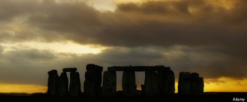 Ancient Stone Circle of Stonehenge at Sunset. Image shot 2008. Exact date unknown.