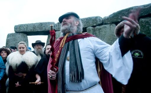 Chief Druid leads the Winter Solstice service at Stonehenge